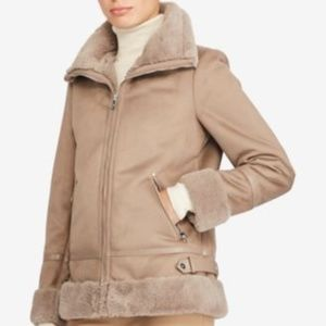 Ralph Lauren Faux Shearling Soft Moto Jacket Mink